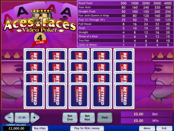 4-Line Aces and Faces - Video Poker