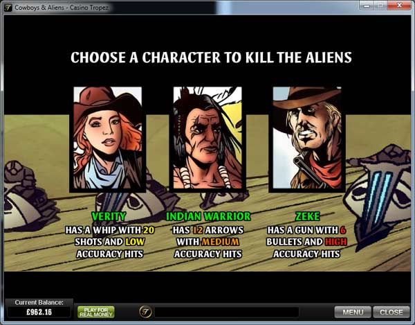 cowboys and aliens slot bonus game