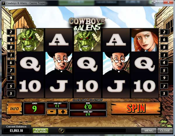 cowboys and aliens video slot