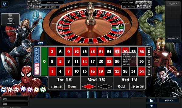 Online Marvel Roulette casino game